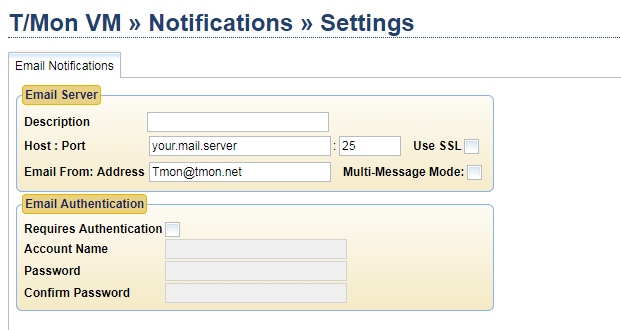 Email server settings on T/Mon