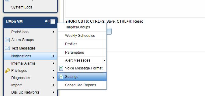 Notifications settings on T/Mon
