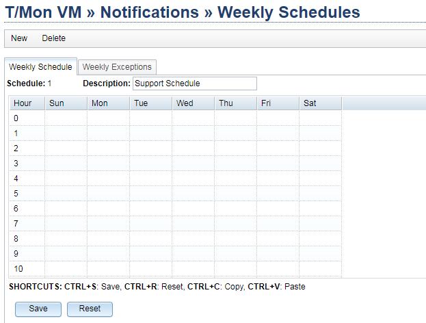 WEekly schedule grid on T/Mon