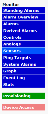 Side Navigation with Sensors Highlighted