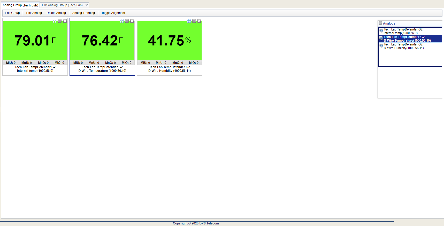 T/Mon Analog Group Configured