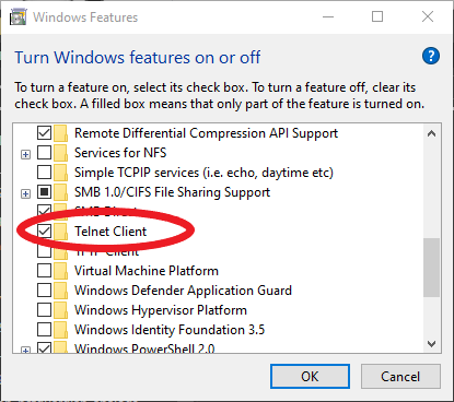 Windows Feature List