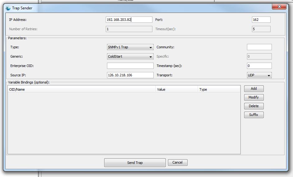 MIB Browser trap sender test