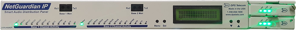 Front panel of the (revision 2) NetGuardian Audio Distribution Panel (ADP)