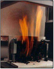 The 'burn test' is one of many rigorous tests NEBS certified gear must pass