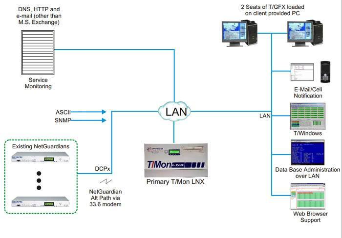 T/Mon LNX in a service monitoring application